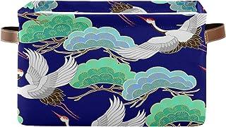 Tropicallife Panier de rangement F17 - Grue japonaise - Oiseau - Feuilles - Boîte de rangement avec poignée - Pliable - En...