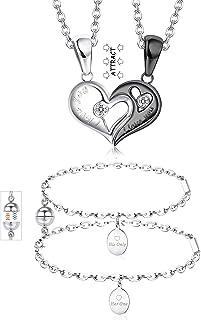 Jstyle 4Pcs Couples Bracelets Necklace Magnetic Couple Bracelets Matching Set Heart CZ Puzzle Matching Pendant Necklace Br...