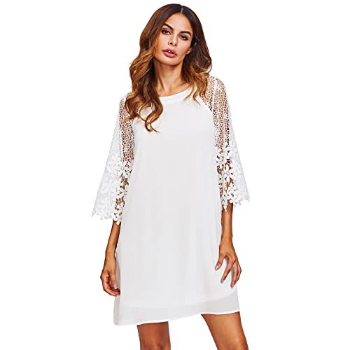 842dc4ade64ac MAKEMECHIC Women's Casual Crewneck Half Sleeve Summer Chiffon Tunic Dress