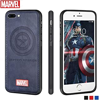Marvel Avengers iPhone Leather Case Protective Cell Phone Case for Apple iPhone 8 Plus/iPhone 7 Plus Marvel Avengers Comic Super Hero Inspired Series 3D Premium Scratch-Resistant (Captain America)