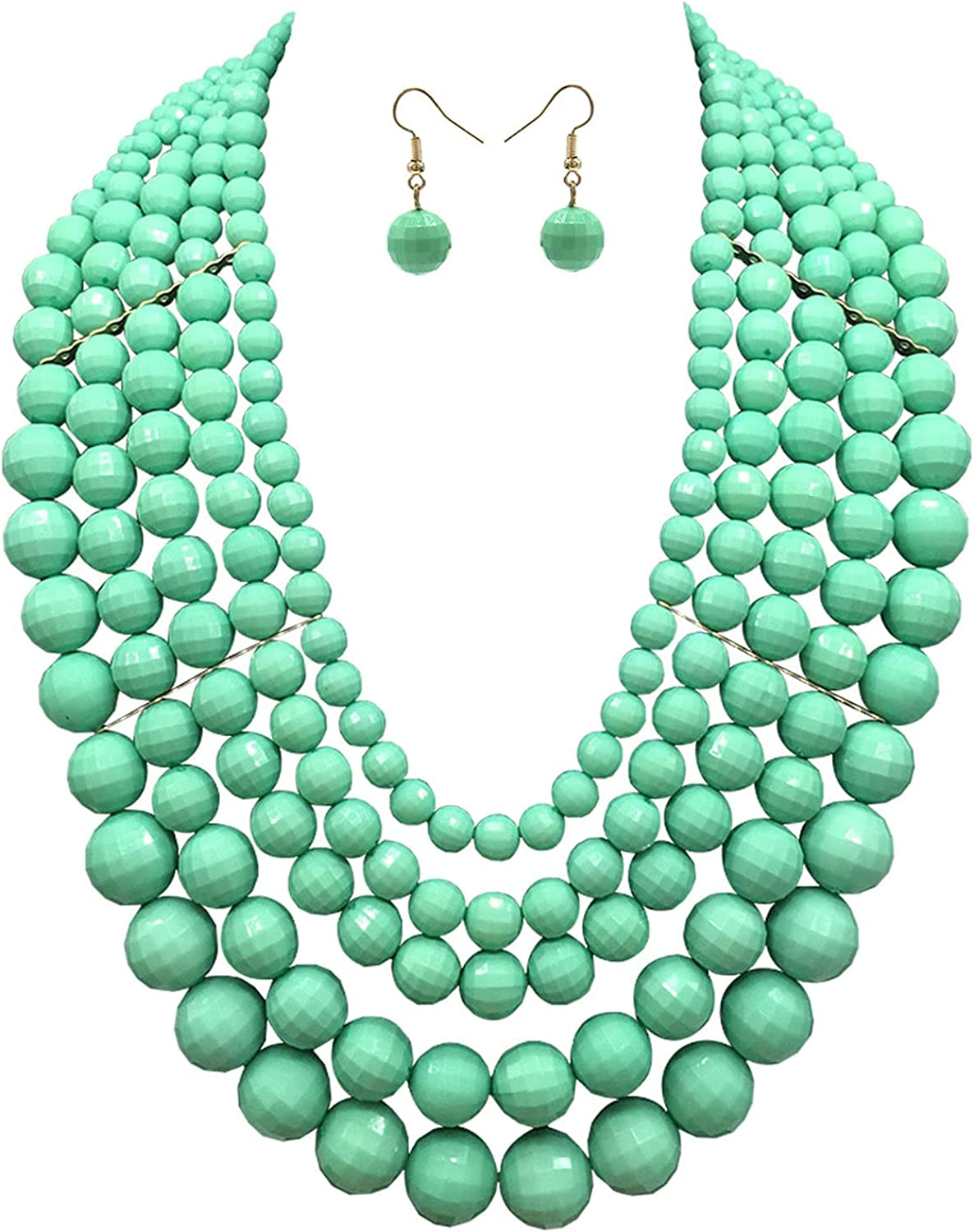5 Layered Popular products Beaded Statement Chunky Necklaces Women For - Store St Multi