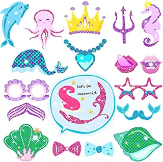 Mermaid Party Decoration Favor Supplies, Let's Be Mermaids - Glitter Mermaid Theme Photo Booth Props Kit for Mermaid Baby Shower Birthday Party Supplies, 18 pcs