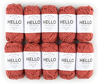 Hello Cotton Yarn, Ginger, Pack of 10 balls x 25g