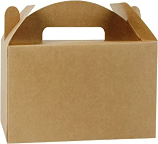 LaRibbons 12 Pack Treat Gift Boxes - 8.5 x 4.75 x 5.5 inches Brown Paper Box Recycled Kraft Gift Box Birthday Party Shower Favor Box