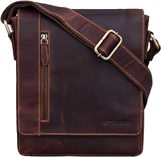 """STILORD Easton"""" Kleine Messenger Bag Echt Leder Vintage Umhängetasche im Hochformat 10,1 Zoll Tablet Tasche für iPad DIN A5 Schultertasche Echtleder, Farbe:Siena - braun"""
