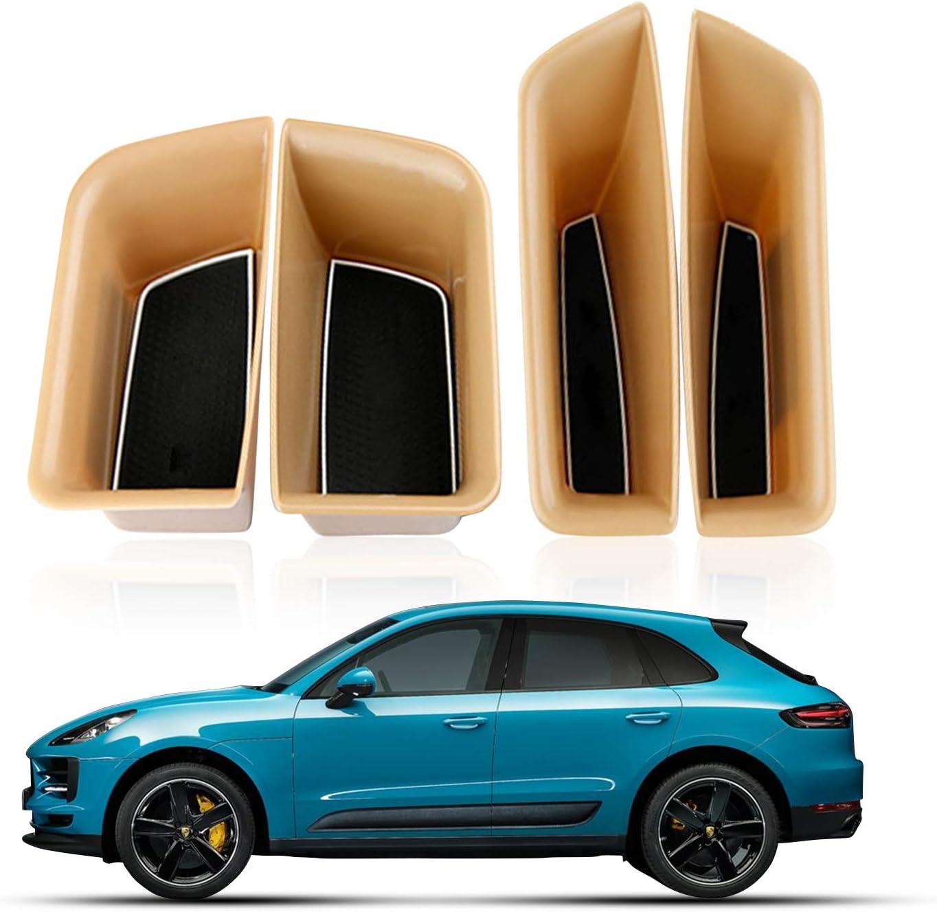 4PCS YEE PIN 4-Door Black Organizer Tray Car Door Side Handle Pocket Storage Box Passenger Storage Tray Organizer Grab Handle Box Accessory for 2015-2020 Porsche Macan