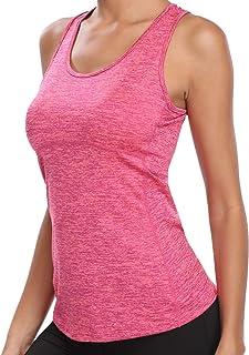 تانك توب دراي فيت للنساء الجري سترات الصيف الصالة الرياضية تمارين التخسيس Racerback قمصان بلا أكمام