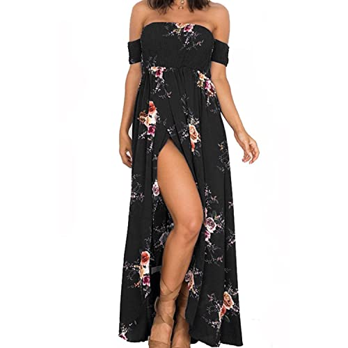 aca91d894063 Genhoo Women Off The Shoulder Floral Split Boho Chiffon Maxi Beach Dress