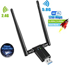 SP-Cow Antena WiFi 1200Mbps Adaptador WiFi USB 3.0 WiFi Adapter 5dBi Receptor 802.11ac WiFi Dual Band (5.8G/867Mbps 2.4G/300Mbps) para PC/Laptop/Desktop,Soporte Windows10/8/7/Vista/XP,Linux,MacOS X