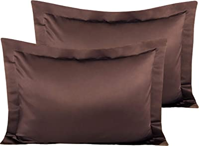 NTBAY Satin Pillow Shams, 2 Pack Super Soft and Luxury Pillow Cases, Standard Size, Dark Brown