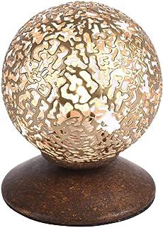 Paul Neuhaus Art Déco Lampe de Table/Lampe á poser/Luminaire/Lumiere/Éclairage effet rouille - Kreta 1 Metal Rond Compatib...