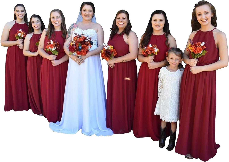 Bayonline Chiffon Bridesmaid Dress Halter Neck Long Formal Evening Dress for Wedding Party