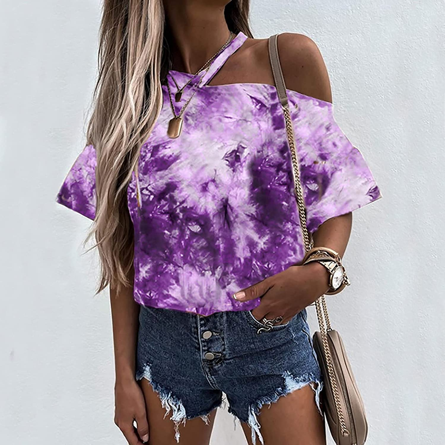 Cold Shoulder Tops for Women Casual Summer V-Neck Novelty T Shirts Tie-dye Printed Short Sleeve Blouse Tee