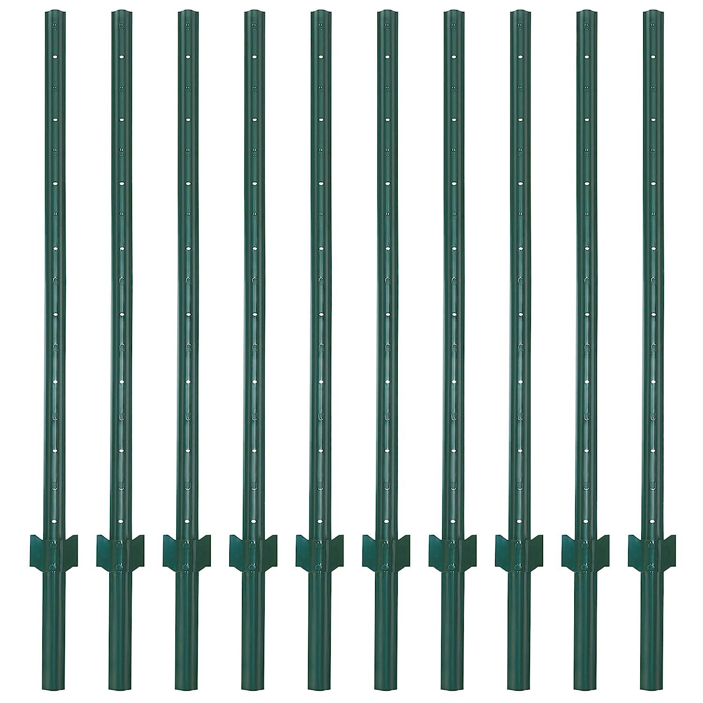 VASGOR 7 Feet Sturdy Duty Metal Fence Post – Garden U Post for Fencing - 10 Pack