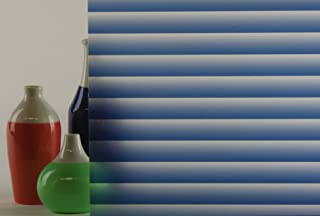 Static Cling Window Film, Mini Blinds Blue Textured, Decorative, Privacy, (5