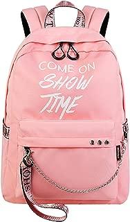 El-fmly College School Bag Cute Backpack for Girls Teen Bookbag Student Rucksack Laptop Travel Bag Luminous Letter Print-Pink