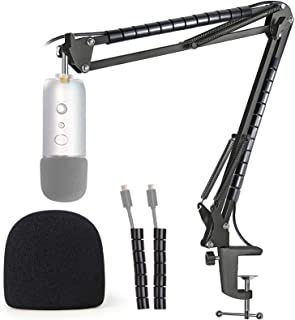 Blue Yeti Mic Stand with Windscreen - Mic Suspension Boom Arm Stand with Pop Filter Foam Cover Compatible with Blue Yeti and Yeti Pro Microphone by YOUSHARES