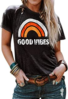 Vaise Women Good Vibes Tank Tops Long Sleeve and Sleeveless Loose Graphic Tank Tops Casual Summer Rainbow Good Vibes Shirt