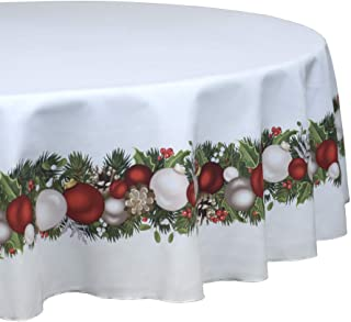 "Fabric Textile Products Round Tablecloth, 100% Milliken Polyester, Machine Washable, 90"" Round, Christmas Garland Border"