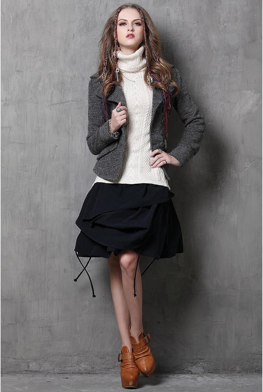 MEINO Women's Vintage Woolen Coat Double Breasted Cropped Jacket