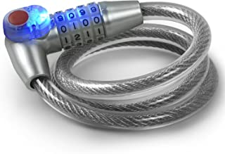 Tektalk LED Bike Lock/Illuminated Bicycle Cable Lock/Anti-Theft Motorcycle Lock with Self Coiling Resettable Digit Combination