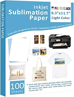 """Sublimation Paper - Heat Transfer Paper 100 Sheets 8.3"""" x 11.7"""" for Any Epson HP Canon Sawgrass Inkjet Printer with Sublim..."""
