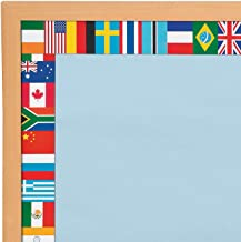 Fun Express - Flags Bulletin Border - Educational - Classroom Decorations - Bulletin Board Decor - 12 Pieces