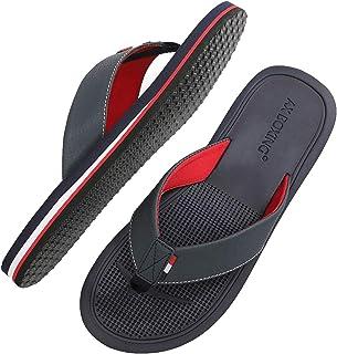Chanclas Hombre Playa Caballeroso Cuero Flip Flop Sandalias Azul Rojo Antideslizante Interior Al Aire Libre Tamaño 40-46