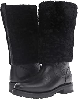 Black Waterproof Waxed Pebbled Leather/Shearling
