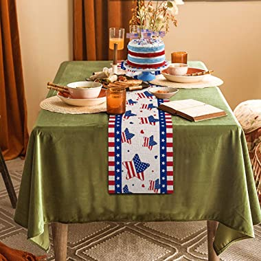Linen Independence Day Table Runner Stripe and Star 4th of July Patriotic Memorial Day Dinning Room Home Decoration