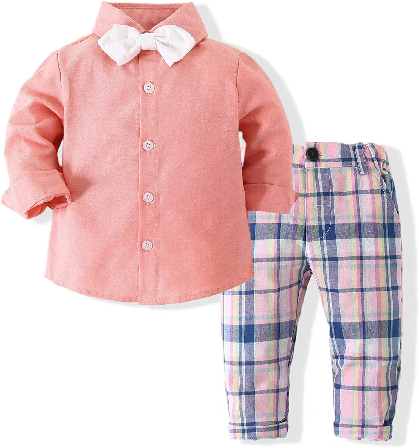 Hemopos Toddler Boys 2-Piece Suit, Long Sleeve Plaid Shirt+ Jeans, Size 1-3 Years