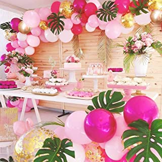 Girl's Birthday Flamingo Garland Kit Balloon Party 70 Pcs Pink Rose Red Golden for Wedding Arch Baby Shower Bridal Shower Unicorn Party Thanksgiving Party