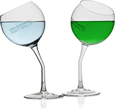 Tilted Wine Glasses 2 Crystal Tipsy Wine Glasses With Saying|Dishwasher Safe Lead-Free Funny Wine Glasses
