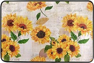 Vintage Yellow Sunflower Entrance Doormat Indoor Welcome Door Mats 23.6 x 15.7 inch, Green Leaves Flower Floral Entry Way ...