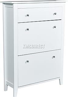 FoxHunter SCM-01 Zapatero de madera, 2 cajones con soportes para organizar el calzado, color blanco