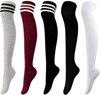 Aneco 5 Pairs Over Knee Thigh Socks Knee-High Sock High Thigh Stockings High Boot Thigh Women Socks for Cosplay,Daily Wear