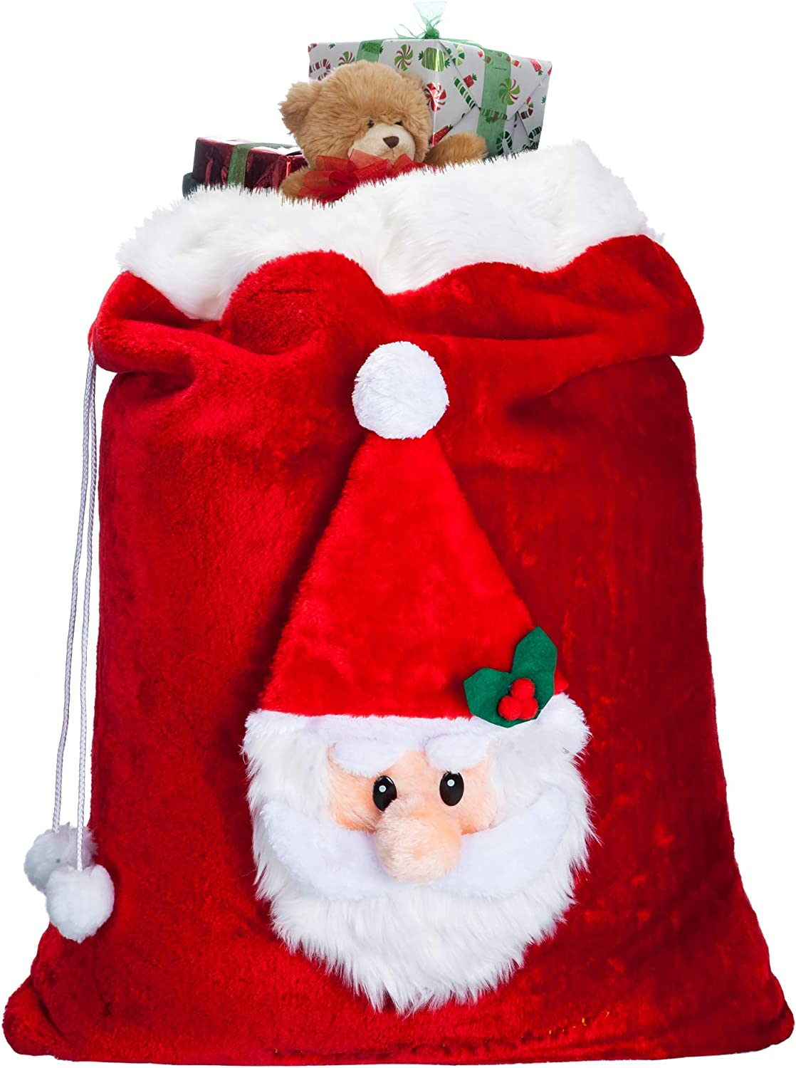 Luxury Oversized Velvet Santa's Gift Sack 3D Plush Faux Fur Cuff with Cord Drawstring – 34in x 24in(Tall x Wide)