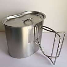 G.i. Type Stainless Steel Canteen Cup, Brand New with Lid, Brushed Matte Finish.