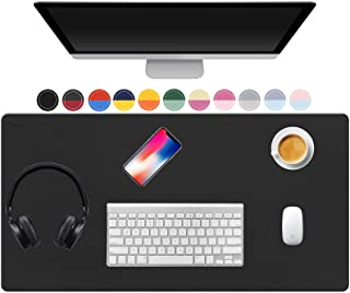 """TOWWI Leather Desk Pad Protector 36""""x17"""" Desk Blotter Pad, Waterproof Writing Desk Mat for Office Home"""