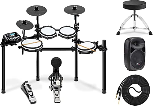 """high quality LyxJam 8-Piece Electronic Drum Kit Set, with Real Mesh Fabric 448 outlet online sale Preloaded Sounds, 70 Play-Along lowest Songs, Choke,Rim,Edge & Kick Pad Throne, 8""""PA Speaker & Speaker Cable outlet online sale"""