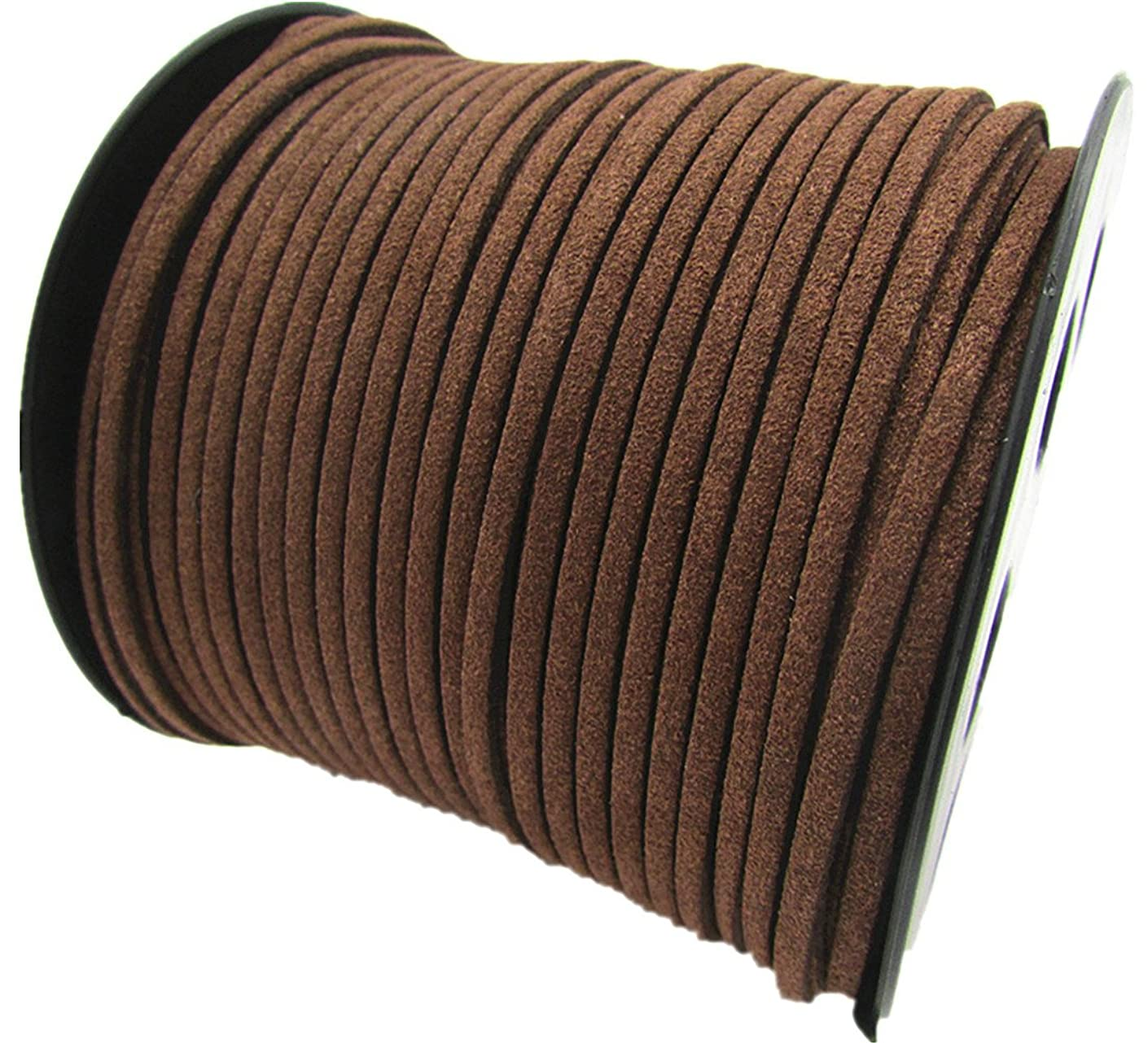 100 Yards Jewelry Making Flat Micro Fiber Lace Faux Suede Leather Cord (12 Colors) (Brown)