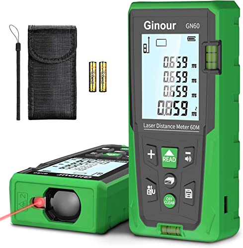 popular Laser Measure, Ginour Mute outlet online sale Laser Distance Meter 60m/196Ft M/In/Ft ±1mm Accuracy with 2 Bubble Levels, Backlit LCD and Pythagorean Mode, Carry popular Bag and Battery, for Measuring Distance, Area, Volume online