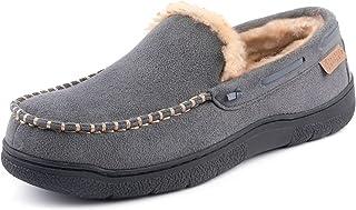 Zigzagger Men's Moccasin Slippers Memory Foam House Shoes