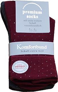 Premium Socks, 3,6 o 9 pares de calcetines para diabéticos extra anchos con purpurina, calcetines sanitarios sin goma y sin costuras, con borde cómodo, tallas 35-38 o 39-42