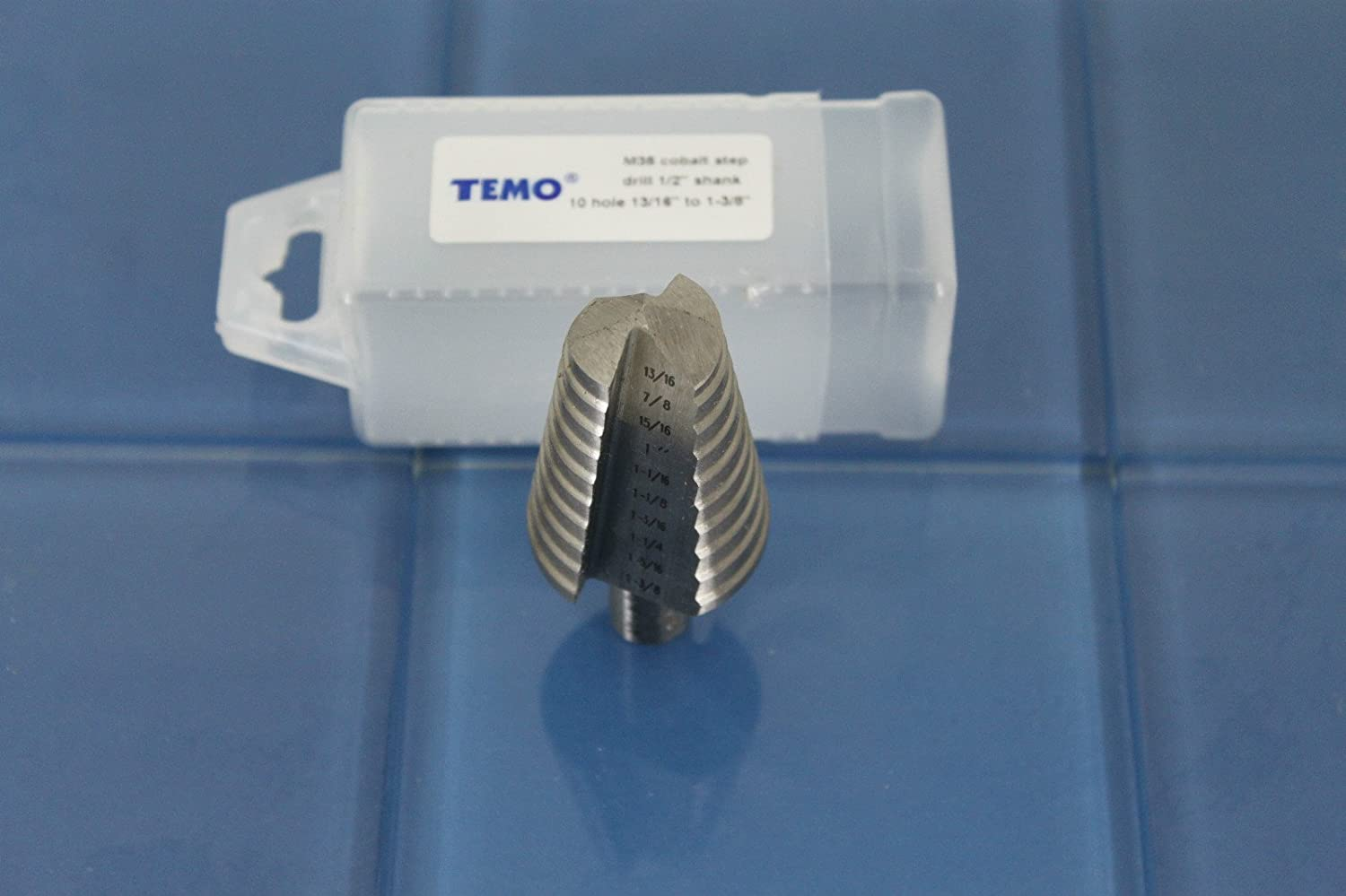 6.4mm 12.7mm 1//4 inch 6 Size from 3//16 inch 4.8mm TEMO M35 Cobalt Step Drill Double Flute to 1//2 inch Hex Shank