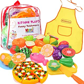 Kimicare Kitchen Toys Fun Cutting Fruits Vegetables Pretend Food Playset for Children Girls Boys Educational Early Age Bas...