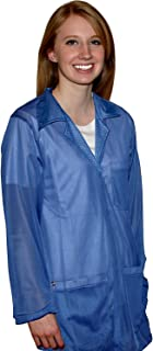 StaticTek Full Sleeve Snap Cuff ESD Jacket | Anti-Static Lab Coat | Certified Level 3 Static Shielding | Light Weight | ESD Smocks with High ESD Protection | Large | Light Blue | TT_JKC8804SPLB
