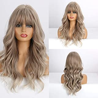 Esmee Blonde Ash Gray Long Wigs Heat Resistant Synthetic Cosplay Wavy Wigs with Bangs for Women