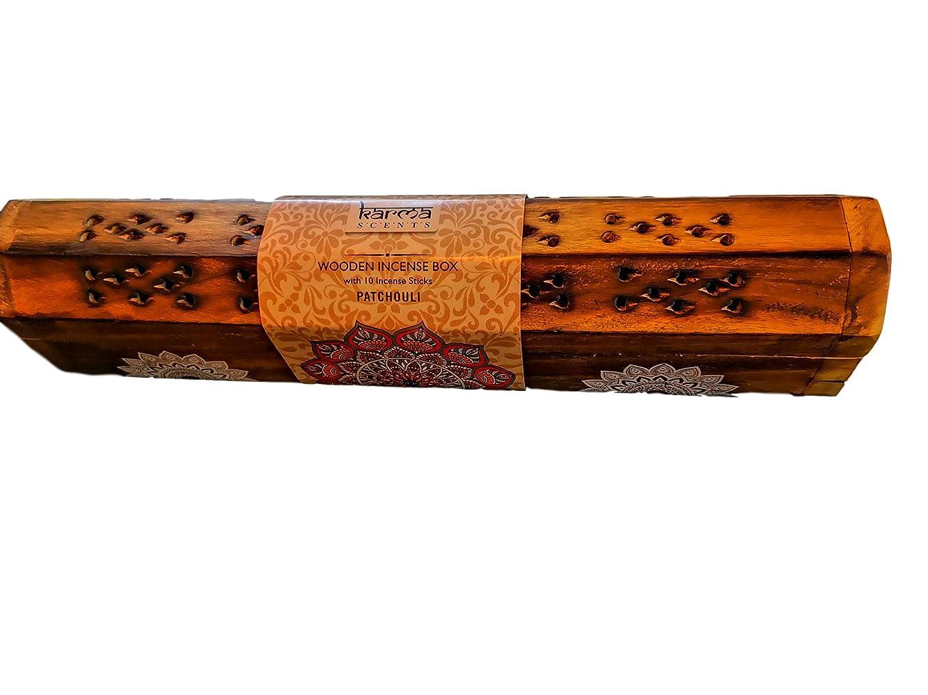 ゆるく明快硬さKarma Patchouli Incense Wooden Set