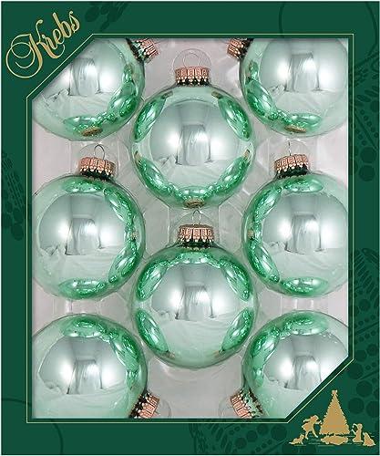 "Christmas By Krebs Made in The USA Designer Seamless Glass Christmas Ball Ornaments, 2 5/8"" (67mm), Seafoam Shine Gre..."